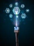 Câble électrique avec des icônes de multimédia Photos libres de droits