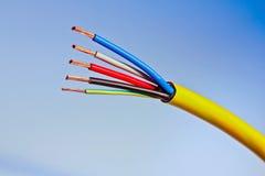 Câble électrique avec les conducteurs de cuivre affichés Image libre de droits