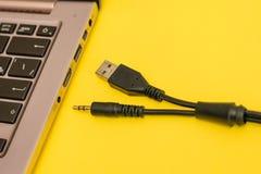 Câble avec deux connecteurs pour relier un microphone à un ordinateur portable image stock