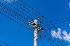 Câble avec le ciel bleu et nuageux Photos libres de droits