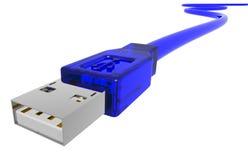 Câble bleu d'usb Photographie stock libre de droits