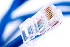 Câble bleu de connexion réseau de LAN sur le fond blanc Image libre de droits