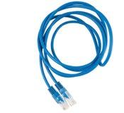 Câble bleu de réseau de twisted pair Images stock