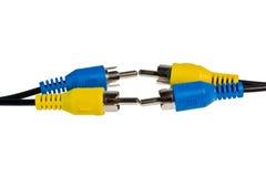 Câble coaxial de liaison jaune et bleu Photo stock