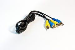 Câble coaxial de liaison jaune et bleu Images libres de droits
