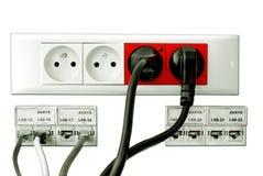Câble d'isolement de câble d'alimentation et de données images stock