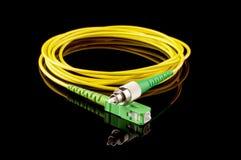 Câble d'optique des fibres avec différents connecteurs d'isolement Images stock