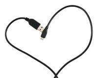Câble d'USB formé comme coeur Photos stock