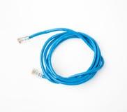 Câble de réseau de corde de correction avec la prise RJ45 moulée, d'isolement sur un fond blanc Photo stock