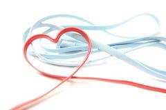 Câble en forme de coeur rouge de réseau Images stock