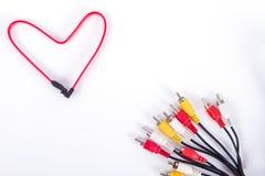 Câble en forme de coeur rouge de réseau Ethernet Images libres de droits