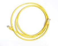 Câble jaune de réseau Images stock