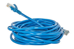 Câble LAN bleu de réseau sur un blackground blanc Photos libres de droits