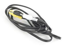 Câble noir d'ordinateur avec des connecteurs image stock