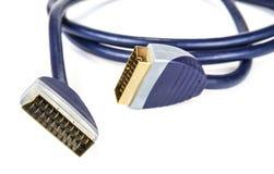 Câble noir de scart pour la télévision et le satellite images libres de droits