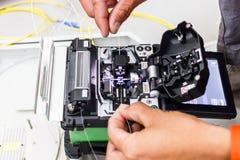Câble optique de fibre pour le système de réseau Images libres de droits