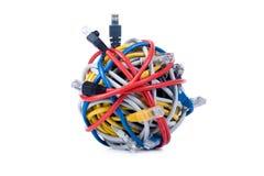 Câbles d'Ethernet d'isolement sur le blanc Photos libres de droits