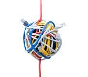 Câbles d'Ethernet d'isolement sur le blanc Photos stock