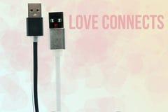 Câbles d'USB sous forme d'hommes et zhenschiny noirs et blancs l'amour de napis se relie Inter-amitié, amour, technologie de l'av Images stock