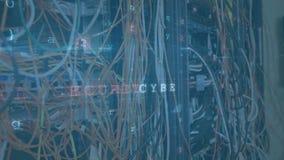 Câbles dans la salle de serveurs d'ordinateurs avec déplacement de messages de sécurité de données illustration stock