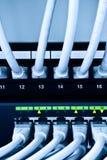 Câbles et commutateur de réseau photos stock