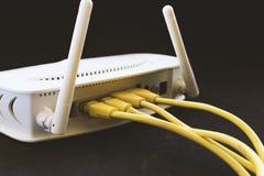 Câbles jaunes de réseau images libres de droits