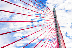 Câbles modernes de soutien de pont Image libre de droits