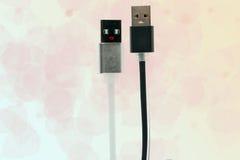 Câbles noirs et blancs d'USB sous forme d'hommes et de femmes Inter-amitié, amour, technologie de l'avenir Cadre horizontal Photo stock