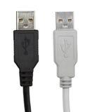 Câbles noirs et gris d'usb Photos libres de droits