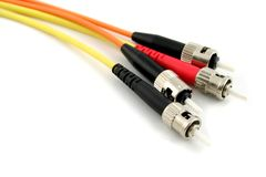 Câbles optiques d'ordinateur de fibre image stock