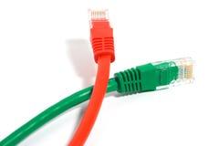 Câbles rouges et verts Photographie stock libre de droits