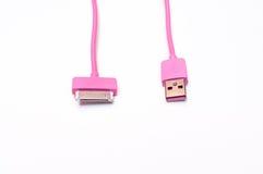 Câbleur rose de téléphone portable d'isolement Photographie stock