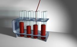 Câmara de ar de teste com sangue imagens de stock royalty free