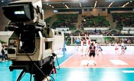 Câmara de televisão do esporte imagens de stock