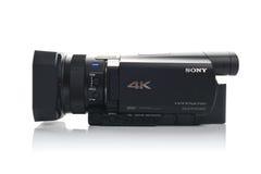 Câmara de vídeo de Sony FDR AX100 4k UHD Handycam Imagens de Stock Royalty Free