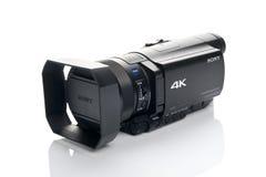 Câmara de vídeo de Sony FDR AX100 4k UHD Handycam Fotografia de Stock Royalty Free