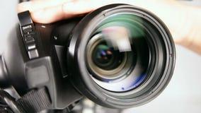 Câmara de vídeo - tiro próximo da lente video estoque