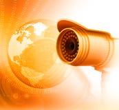 Câmara de vigilância com mundo digital Foto de Stock Royalty Free