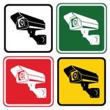 Câmara de vigilância do sinal Grupo de sinais de aviso no colo diferente ilustração do vetor