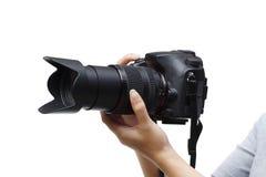 Câmara digital com lente de zoom Fotos de Stock