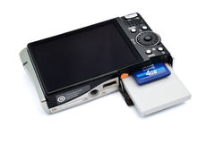 Câmara digital com memória, bateria Fotografia de Stock