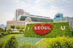 Câmara municipal da plaza de Seoul com I SEOUL U o 19 de junho de 2017 Cidade Hal Foto de Stock