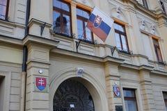 Câmara municipal de Banska Bystrica, Eslováquia fotografia de stock