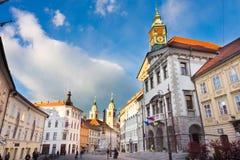 Câmara municipal de Ljubljana, Eslovênia, Europa Fotos de Stock Royalty Free