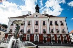 Câmara municipal de Tartu e a fonte de beijar estudantes fotos de stock royalty free