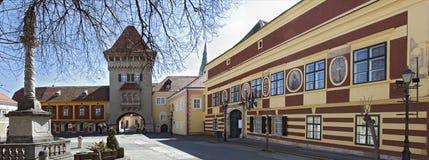 Câmara municipal e herói-torre de Koeszeg Imagens de Stock