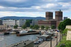 Câmara municipal em Oslo, capital de Noruega Fotografia de Stock