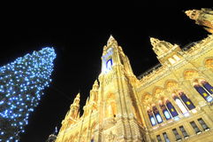 Câmara municipal em Viena no tempo do Natal Fotos de Stock Royalty Free