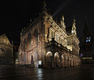 Câmara municipal histórica em Brema, Alemanha na noite Fotografia de Stock Royalty Free