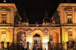 Câmara municipal na noite, Lyon de Lyon, França Fotos de Stock Royalty Free